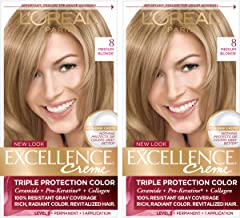 L'Oreal Paris Excellence Creme Permanent Hair Color, 8 Medium Blonde, Pack of 2 100% Gray Coverage Hair Dye