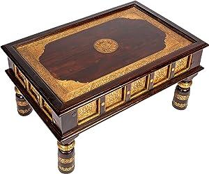 Marokkanischer Wohnzimmertisch Couchtisch aus Holz massiv Sunita 90cm | Vintage Tisch aus Massivholz mit Messing verziert für Ihre Wohnzimmer | Niedriger Orientalischer Sofatisch Massivholztisch Braun