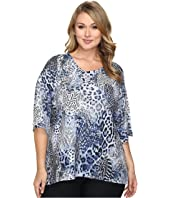 Nally & Millie - Plus Size Printed Animal Boxy Sweater Top