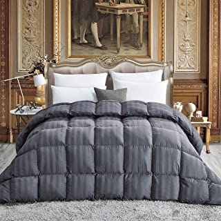 Luxurious All-Season Goose Down Comforter Queen Size Duvet Insert, Exquisite Gray Stripe Design, 1200 Thread Count 100% Egyptian Cotton Down Proof Fabric, 750+ Fill Power, 55 oz Fill Weight