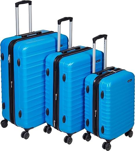 AmazonBasics Set of 3 (55 cm + 68 cm + 78 cm) Light Blue Hardsided Trolley