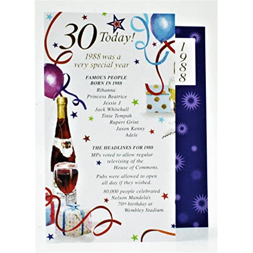 30 Today 1988 Special Year Born Happy Birthday Card Facts Quality Male Him Verse