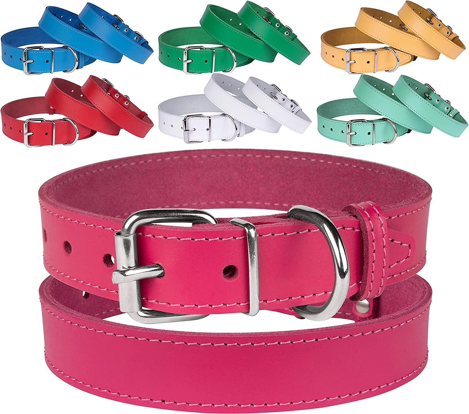 BronzeDog Genuine Leather Dog Collar Puppy Pet Collar for Dogs Small Medium Large Pink Red bluee Green Turquoise White Yellow (Neck Size 17   18 , Pink)