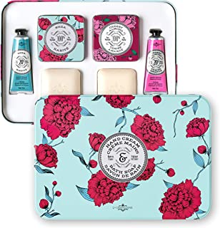 La Chatelaine Luxury Travel Soap & Hand Cream Collection, Set of 4: Plant-Based, Made in France with Organic Shea Butter, featuring Shea and Cherry Almond Soaps and Lotions, 2 Elegant Travel Tins