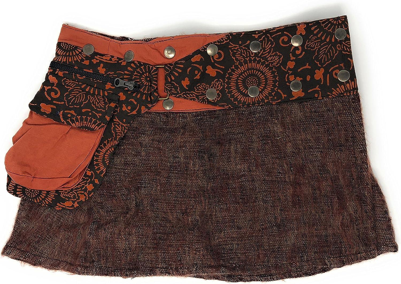 Kathmandu imports Wool Short Snap Wrap Skirt Fair Trade Fits Sz S M L XL 1X