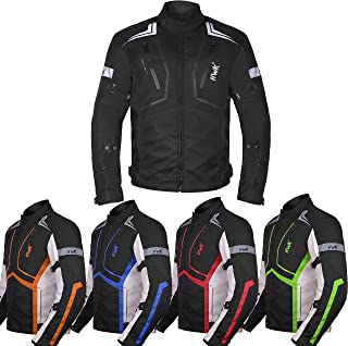 Motorcycle Jacket For Men Textile Motorbike Dualsport Enduro Motocross Racing Biker Riding CE Armored Waterproof All-Weather (Black, Large)