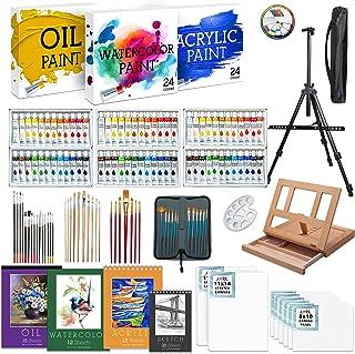 Jumbl Deluxe Painting Kit   131-Piece Professional Art Set w/ 72 Oil, Acrylic & Watercolor Paints, Color Wheel & Palette, ...