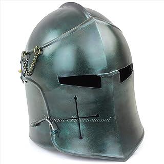 Nagina International Medieval Barbuta Visored Brushed Steel Knights Armory Templar Crusader's Helmet | Props & Costumes He...
