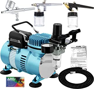 Master Airbrush Cool Runner II Dual Fan Air Compressor Professional Airbrushing System Kit with 3 Airbrush Sets, 0.3 mm Gr...