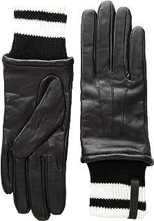 Women's Leather Gloves W/Striped Knit Cuff