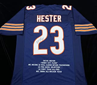 Devin Hester Signed Autographed Blue Football Stat Jersey with JSA Certificate of Authenticity