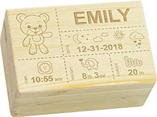 LAUBLUST Engraved Wooden Memory Box - Size L, 12x8x6in - Personalized Baby Keepsake Box - Teddy Design | Natural Wood - Made in Germany