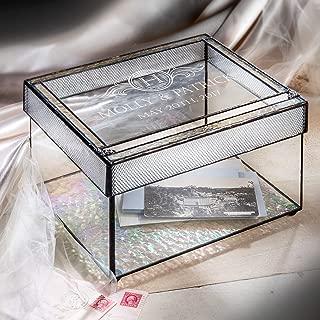 Personalized Wedding Card Box for Reception Decorative Clear Monogrammed Glass Keepsake Display J Devlin Box 841 CBE 845