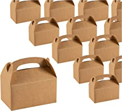 Treat Boxes - 24-Pack Paper Party Favor Boxes, Brown Kraft Goodie Boxes for Birthdays and Events, 2 Dozen Party Gable Boxes, 6 x 3.3 x 3.6 Inches