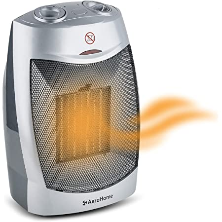 AeroHome 1500W / 750W Ceramic Portable Space Heater Indoor Electric Heater with Overheat & Tip Over Protection - Personal Room Heater with Thermostat Control for Home Bedroom and Office