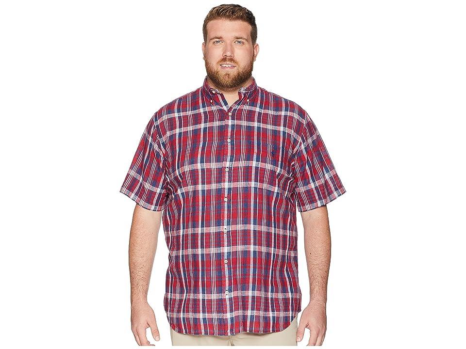 Polo Ralph Lauren Big Tall Madras Plaid Short Sleeve Sport Shirt (Venetian Red/Indigo) Men