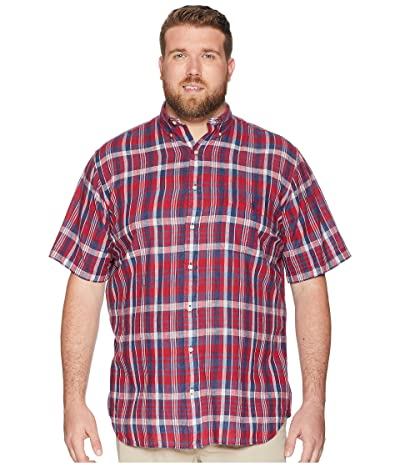 Polo Ralph Lauren Big & Tall Big Tall Madras Plaid Short Sleeve Sport Shirt (Venetian Red/Indigo) Men