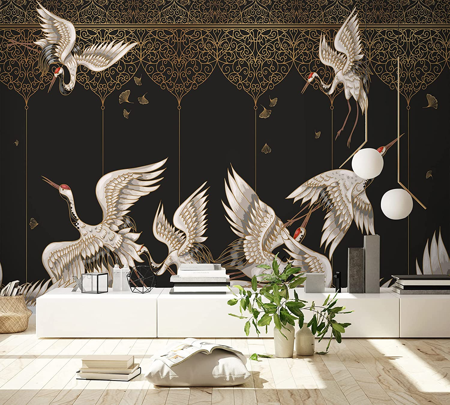 Amazon Com Murwall Art Wallpaper Asian Crane Birds Wall Mural Gold Style Ornament Wall Print Chinese Lux Oriental Bedroom Home Decor Handmade Products