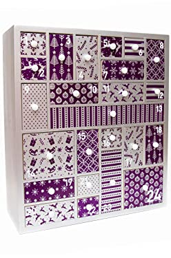 HYGGEHAUS Wooden Advent Calendar for Christmas 2020, Purple and Silver - Advent Calendar for Girls, Women, Teens, Grandparents, Baby. Refillable Advent for Beauty Product, Makeup, Gifts, Accessories