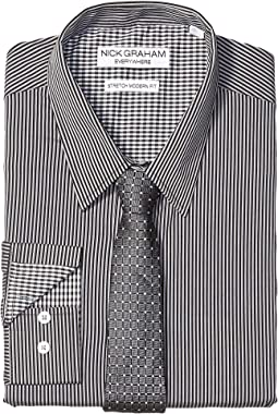 0bf5dea3e71 Black. 0. Nick Graham. Pencil Stripe Contrast CVC Stretch Dress Shirt ...