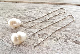 Orecchini con perle bianche barocche e argento 925, pendenti lunghi a catenella, gioielli minimalisti, bijoux con pietre n...