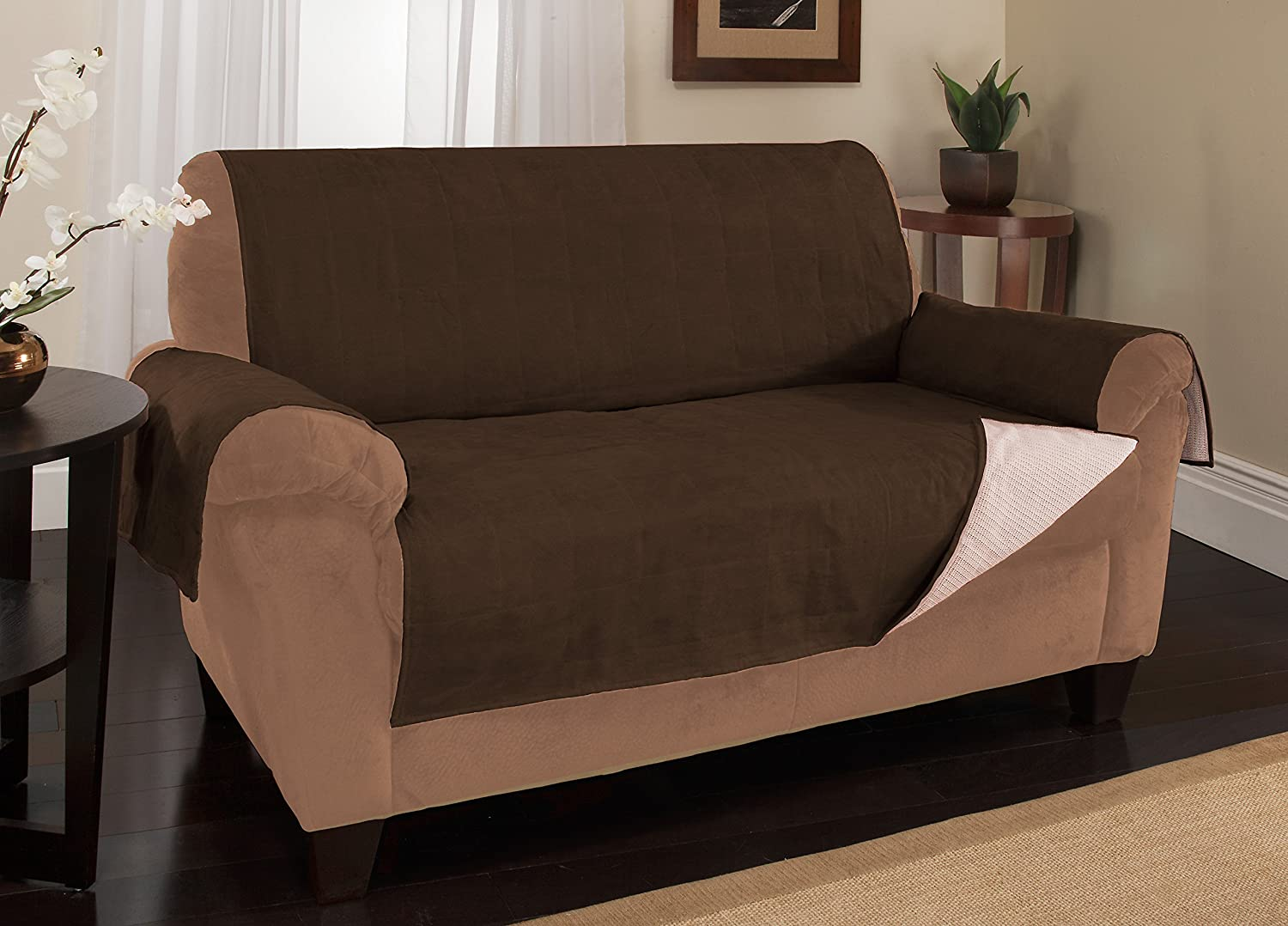 Stay-Put Straps Link Shades Anti-Slip Xtra Large Sofa Protector Cover Protects Couches from Dogs /& Other Pets Water Resistant Microsuede Slipcover XL Sofa, up to 86 seat size, Chocolate