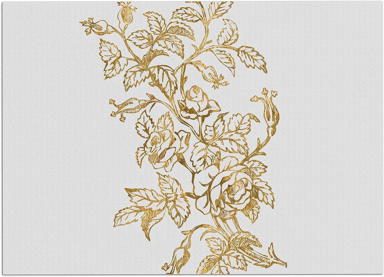 KESS InHouse 888 Design golden Vintage pink  Floral Digital Dog Place Mat, 13  x 18