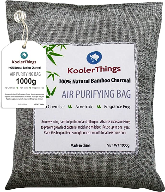 KoolerThings Bamboo Charcoal Air Purifying Bag 1000g Natural Air Fresheners Odor Eliminators For Home Pets Car And Closet Deodorizer