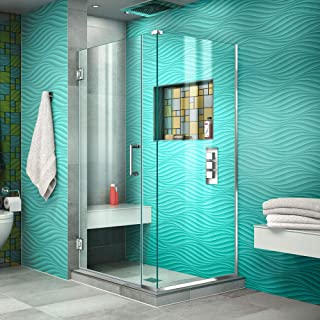 DreamLine Unidoor Plus 35 in. W x 34 3/8 in. D x 72 in. H Frameless Hinged Shower Enclosure in Chrome, SHEN-24350340-01