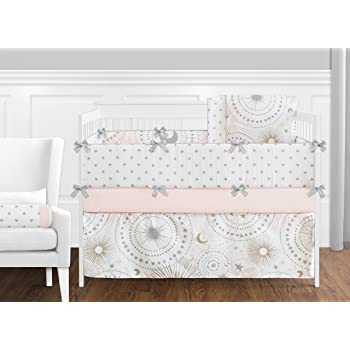 9 pc Blush Pink Gold Grey and White Star and Moon Celestial Baby Girl Crib Bedding Set with Bumper by Sweet Jojo Designs B074MBVG6B