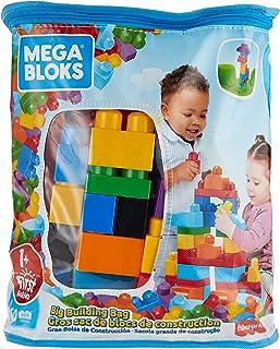 Mega DCH55 - First Builders Big Building Bag, 60 stora byggklossar i roliga färger och former, Passar Barn från 1 år och u...