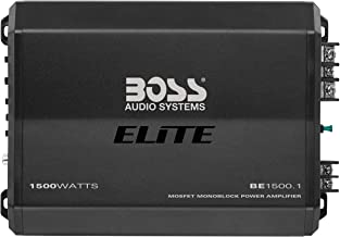BOSS Audio Systems Elite BE1500.1 Monoblock Car Amplifier - 1500 Watts, 2 4 Ohm Stable, Class AB, Mosfet Power Supply, Great For Subwoofers