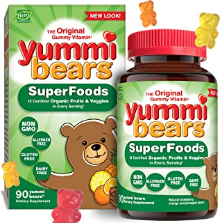 Yummi Bears Wholefood and Antioxidants Gummy Vitamins for Kids, 90 Count (Pack of 1)
