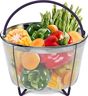 PerfeCome Steamer Basket 6 Qt for Pressure Cooker, Compatible with Instant Pot 6 & 8 Quart, Ninja Foodi & Other | Vegetable & Egg Stainless Steel Mesh Insert with Silicone Handle & Non-Slip Legs