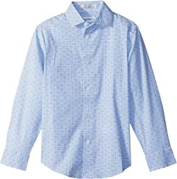Calvin Klein Kids Check Print Long Sleeve Shirt (Big Kids)