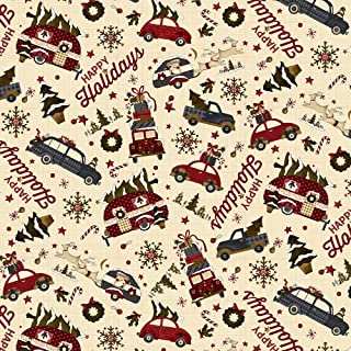 Buttermilk Winter Cream Novelty Toss by Stacy West Buttermilk Basin from Henry Glass 100% Cotton Quilt Fabric 2283-33 - Vintage Trailer