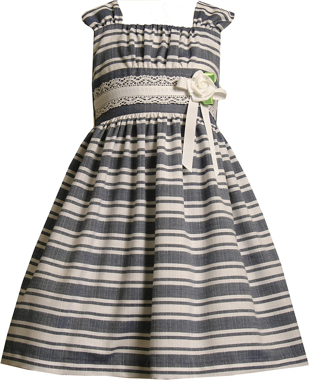 Bonnie Jean Little Girls' Denim Stripe Linen Dress