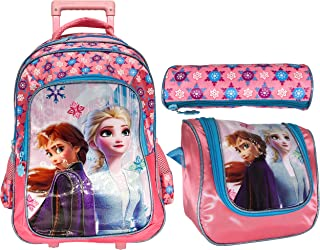 Frozen School Trolley with Backpack For Kids Girl Include Lunch Bag And Pencil Pouch (18, PINK)