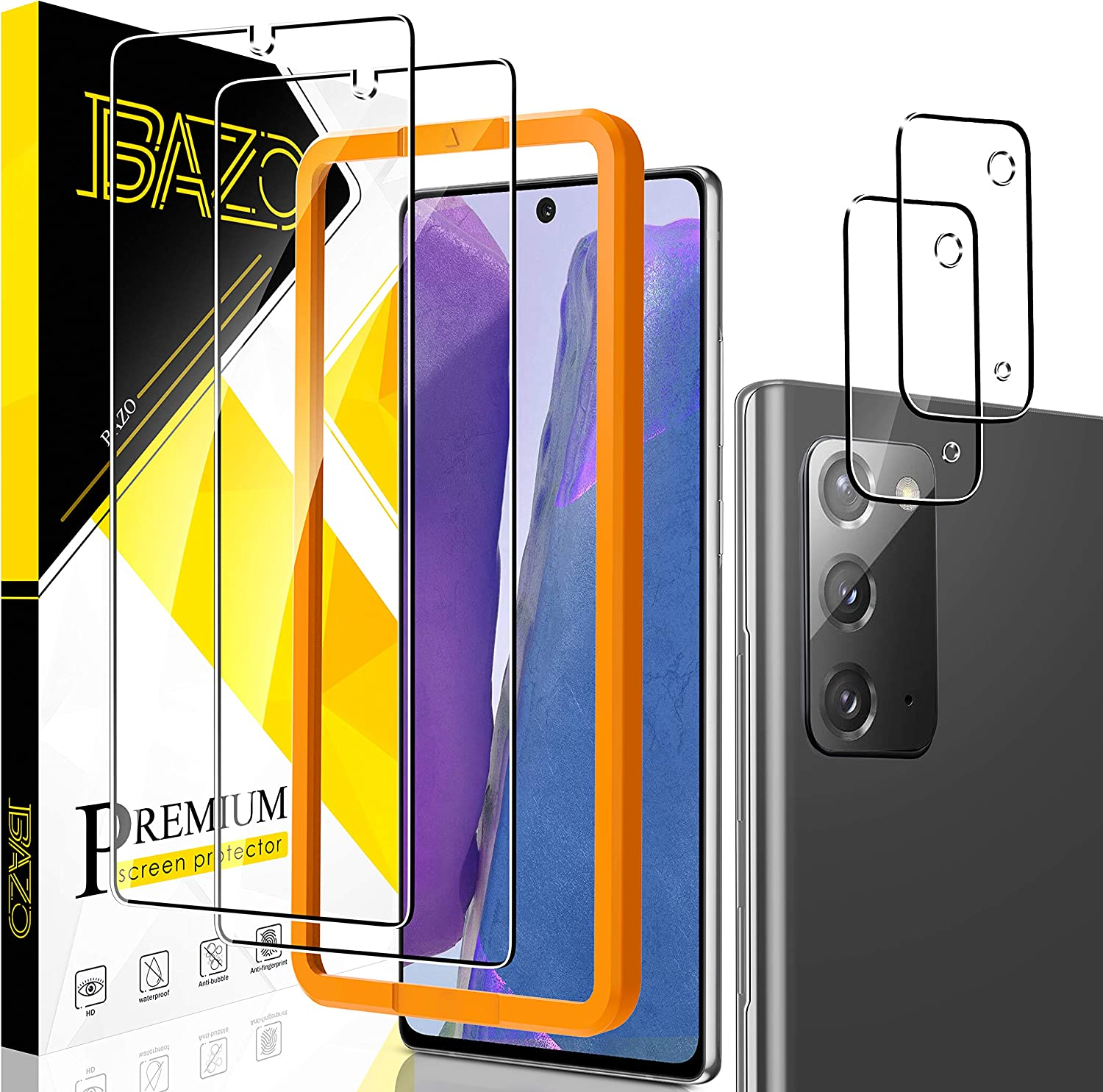 BAZO 2 Pack Tempered Glass Screen Protector for Samsung Galaxy Note 20 4G / 5G + 2 Pack Camera Lens Protector with Easy Installation Frame - Anti-Scratch - Case Friendly - 9H Hardness - HD Clear