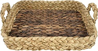 """Bloomingville Decorative 22"""" L Handwoven Seagrass Tray with Handles Basket, Brown"""