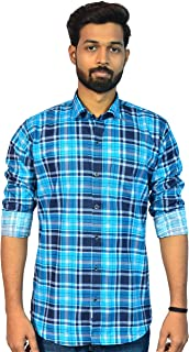 Dude Chase Men's Check Slim Fit Cotton Casual Shirt