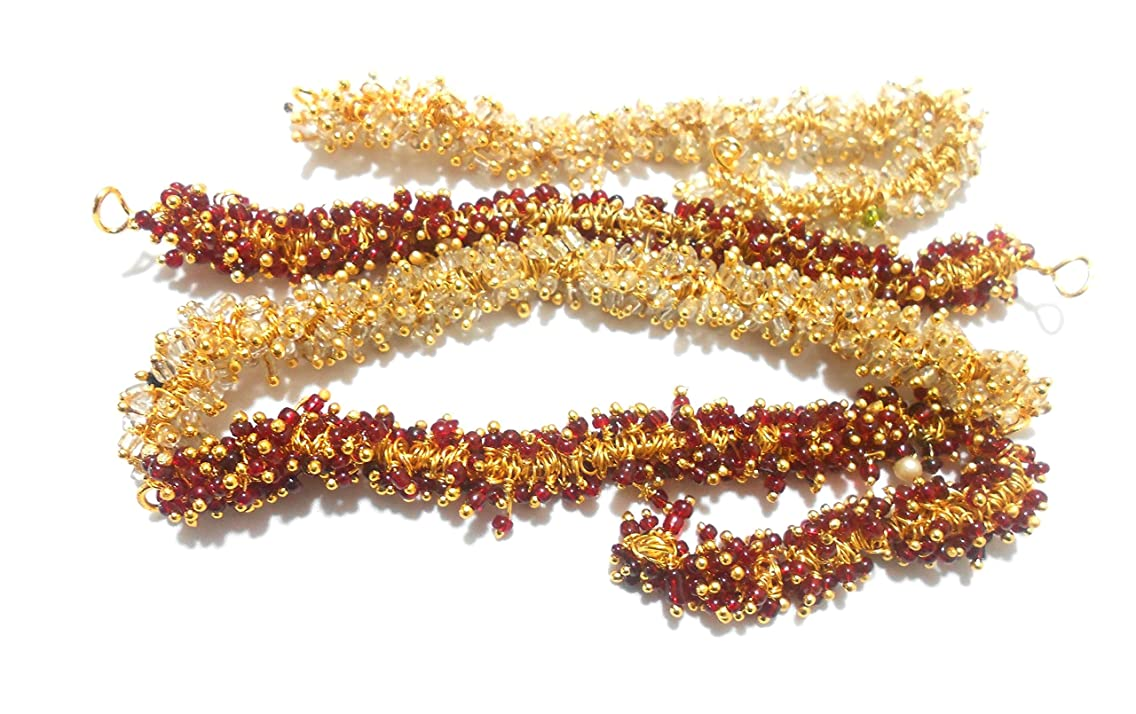 GOELX Pearl Loreals Combo (Maroon & Clear) For Jewellery/Earring/Necklace/Bracelet Making