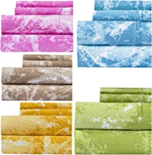 Weavely Marble Print Sheet Set, 400 Thread Count 100% Cotton Printed Bed Sheets Set, 4-Piece Set, 15 inch Elastic Deep Pocket Fitted Sheet King Pink COMIN18JU095206