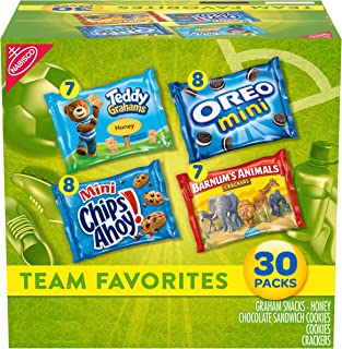Nabisco Team Favorites Variety Pack, OREO Mini, CHIPS AHOY Mini, Teddy Grahams Honey & Barnum's Animal Crackers, 30 Snack ...