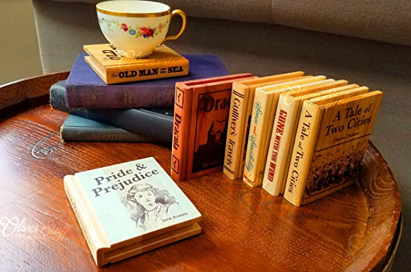 Solid Wood Book Coaster Real Title