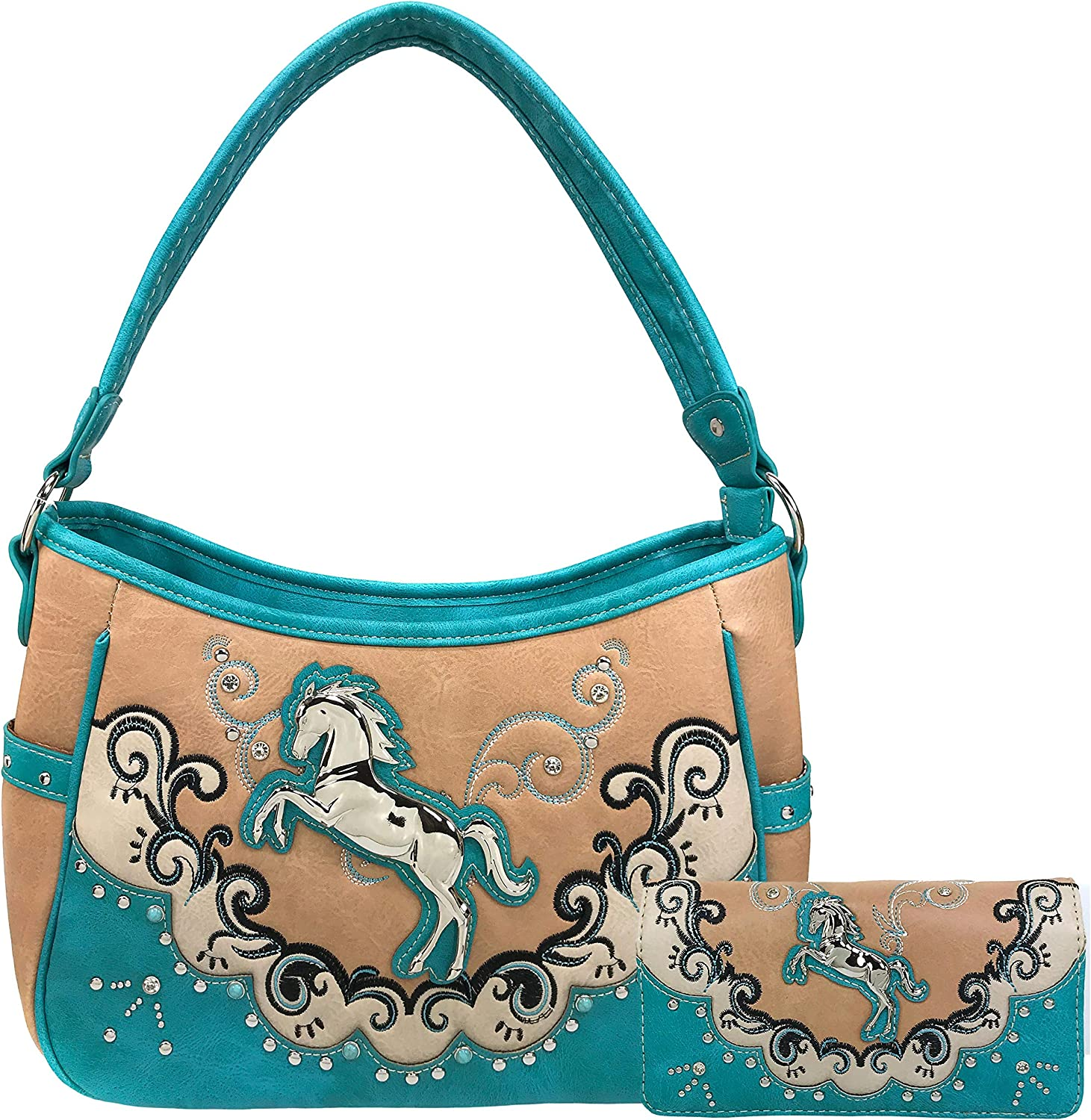 Zelris Western テレビで話題 Mustang Horse Turquoise 新作からSALEアイテム等お得な商品満載 Conceal Hobo Women Carry