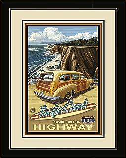 Northwest Art Mall PAL-2794 LFGDM Seaside Oregon Pacific Coast Highway 101 Framed Wall Art by Artist Paul A. Lanquist, 16 ...