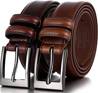 Marino's Men Genuine Leather Dress Belt with Single Prong Buckle