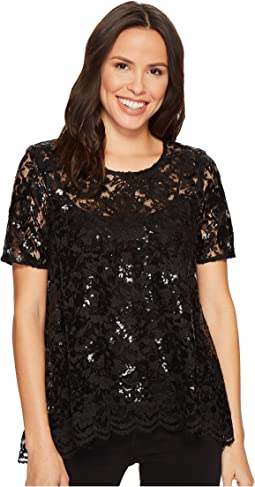 Flare Sequin Lace Top