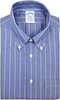 Brooks Brothers Mens Regent Fit 74847 Cotton The Original Polo Button Down Shirt Chambray Blue White Wide Striped